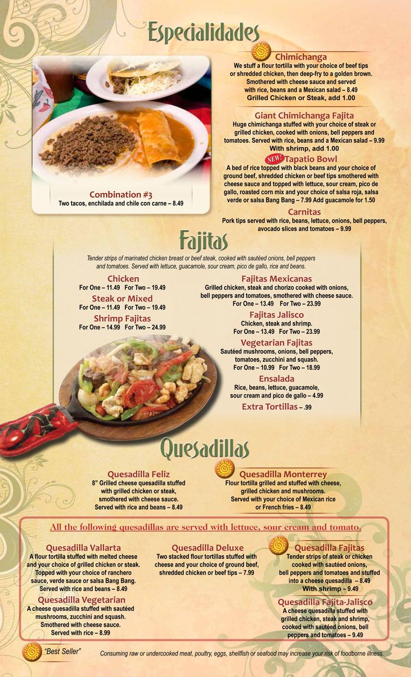 El Tapatio Mexican Menu Sikeston Mo